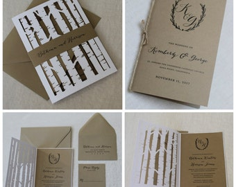 Laser Cut Tree Trunks Invitation