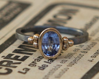 Genuine .84ct Medium Blue Sapphire Oxidized Sterling Silver And 18K Gold Ring SZ 6.5
