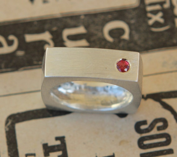 Modern Man's Monolithic Band With .05 CT Ruby Sterling Silver Ring Size 7.5 Free Standard Shipping