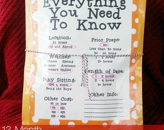 A Year of Dates - Printable kit to help you put together a romantic gift