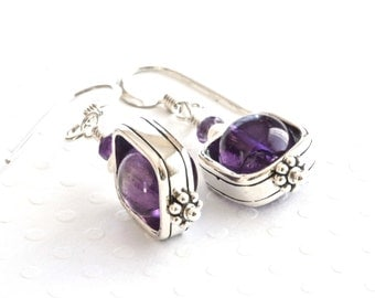 Amethyst Earrings, Sterling Silver Dangle Earrings, Purple Earrings, Stone Earrings, Birthstone Jewelry, Amethyst Jewelry, Gemstone Jewelry