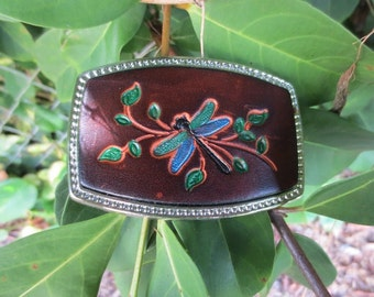 Leather Belt Buckle with Dragon Fly