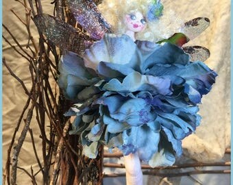 OOAK Dragonfly Fairy Art Doll Flower Fairy Doll Blond Lavender Bleu