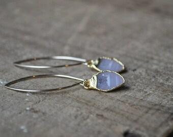 Geode Druzy Dangle Earrings - Gold Druzy Geode Earrings