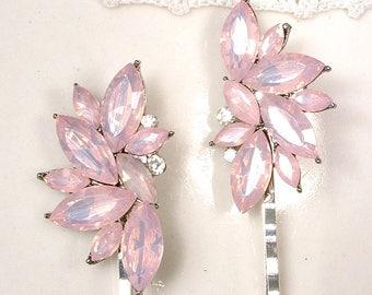 Blush Pink Opal Bridesmaid Hair Pin Set 2 4, Rose Rhinestone Silver Leaf Bridal Bobby Pins, Bridesmaid Gift, Vintage Wedding Clips Romantic