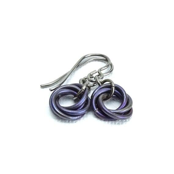 Niobium Earrings Aubergine Infinity Mobius Earrings for Sensitive Ears No Nickel Hypoallergenic Eggplant Color Titanium Earrings