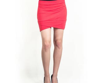 Coral geometric cotton skirt, Slim fit skirt, Low waist  (S1)