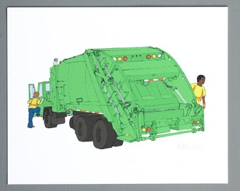 Garbage Truck - Print of Original Illustration