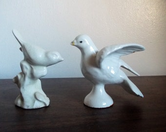 Pair of Little Vintage Chippy White Ceramic Birds