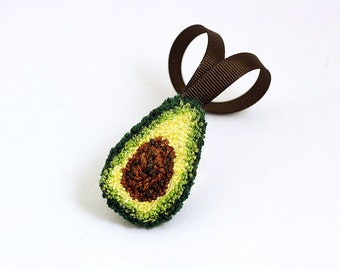 Avocado Christmas Ornament. Punchneedle. Food Art. Dark Green, Light Green, Brown Ribbon.