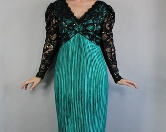 80s Women's Belle Epoque Art Nouveau Gothic Black Lace George F Couture Fortuny Look Bright Green Long Gown Dress, Medium