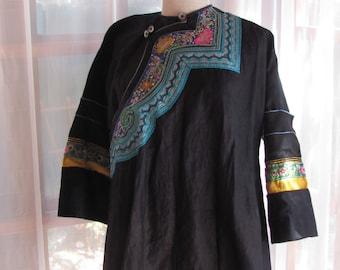 Tibetan Embroidered Black Cotton Jacket