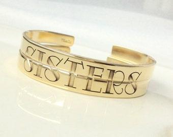 Sisters Split Bracelets . Personalized Sisters Jewelry Cuff . Sisters Set of 2, 3 or 4 Bracelets . TBCO