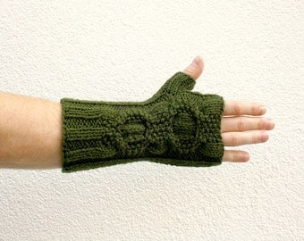Green Fingerless Gloves, Hand Knit Long Gloves with Cable, One of a Kind Mens Gloves, Army Green Women Winter Fashion College Student Gift
