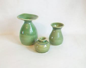 Green Vases - Set of 3  - Small Spring Green Vases -  Vases - Hand made  - Wheel Thrown - Ready to Ship