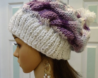 STUNNING WINTER HAT,slouchy styles, purple,lavender, grey and white, soft bulky knit yarn ,cable stitch, all acrylic ,one size fits all