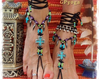 Studded CROSS BAREFOOT Sandals TURQUOISE sandal Christian Wedding Native Indian Cowgirl Boho Rockstar Colorful crochet foot jewelry GPyoga