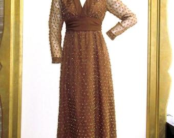 "1970s Brown and Gold Eyelash Maxi Dress 29"" Waist"