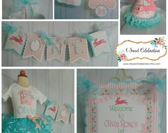 Easter Bunny Shabby Chic  -1st birthday Rabbit banner Easter spring  Birthday hat birthday cake topper