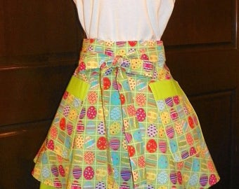 Colorful Fun Eggs in Squares Double Skirt Waist Apron is a Nice Accessory to Help Keep Your Clothes Protected
