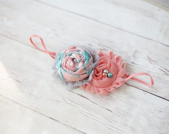 Daydreamer- coral aqua grey rosette and chiffon flower baby headband bow