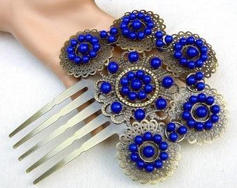 Spanish mantilla comb intricate metal purple beads hair accessory decorative comb headdress