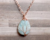 Amazonite Tree of Life Necklace - Blue Necklace - Gemstone Necklace - Amazonite Pendant - Copper Necklace - Teardrop Necklace