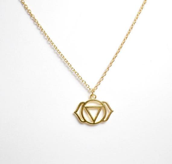 Gold Plated Third Eye Chakra Necklace - Chakra Charm Necklace - Third Eye Chakra Pendant