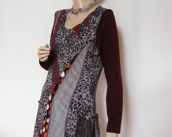 Size Large Grey Maroon Dress