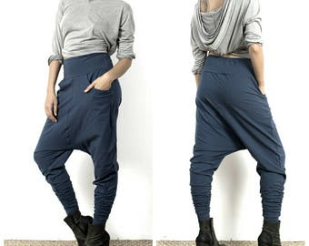 Low Crotch Pants - Organic Cotton Sweatpants - Baggy Pants - Drop Crotch Pants - Blue Harem Pants