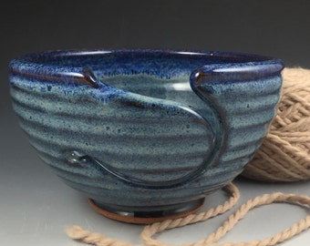 Yarn Bowl - In Stock & Ready to Ship - Knitting Bowl - Large Yarn Bowl - Pottery Yarn Bowl - Ceramic Yarn Bowl - Blue Yarn Bowl