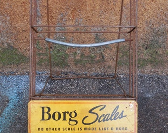 Vintage store display rack Borg Scales Advertising Sign counter shelves Metal sign