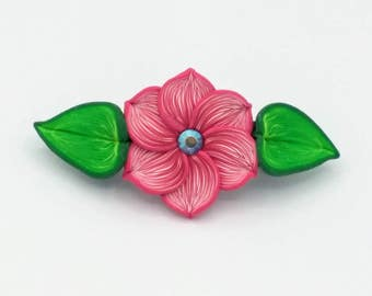 Pink Flower Barrette 3.5 Inches; Spring Blossom; Floral Hair Accessory Fashion; Style No: PIF05