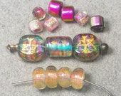 Rare Sara Creekmore Rune Dichroic Beads - PASSION - Dichro Art Glass Beads - Sterling Add A Bead Lampwork Screw Top Pendant Finding