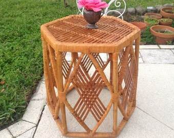 """RATTAN BAMBOO TABLE / 19"""" tall Rattan Side Table / 19 Inches tall x 18 Inches wide Bohemian Table / Sturdy Rattan Table at Retro Daisy Girl"""