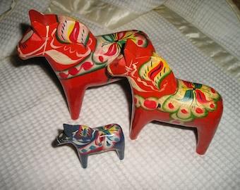 "Vintage Colourful Festive Scandinavian 6"" Dala Horse Swedish Folk Art Holiday/Easter Traditional Home Decor Fab."