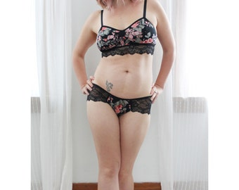 Black Floral and Lace 'Solstice' Low rise Panty and Longline Bra Lingerie Set Handmade in Canada