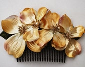 Golden October comb with 4 gold flowers and tiny golden pearls fall wedding bride bridal vintage 50s