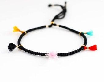 Friendship Bracelet with Tassels Beaded Friendship Bracelet Beaded Bracelet Tassel Bracelet BFF Gifts Delicate Bracelet
