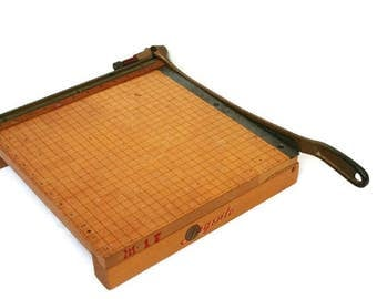 Vintage Paper Cutter  /  Wood and Metal Ingento Cutter  /  Office Supplies  /  School Supplies  /  Office Equipment  /  Industrial Decor