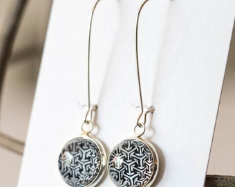 Black and White abstract nail polish earrings, hand painted round earrings, hypoallergenic, geometric monochrome earrings, Dangle Earrings