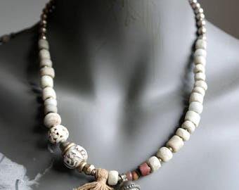 Om Pure Om - Vintage bells and antique african trade beads - Carved Bone Beads - Primitive Layering Necklace - beadsnbones