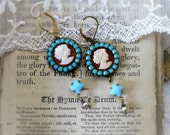 Renaissance Woman,Vintage Cameo Hard Carved Shell Italian,Swarovski Turquoise Crystal Vintage Pearls Altered Assemblage Earrings
