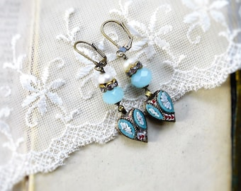 Rustic Romantic,Vintage 1940 Aqua Micro Mosaic Hearts,Genuine Pearls & Amazonite,Crystal Rhinestones,Assemblage Earrings,Hollywood Hillbilly