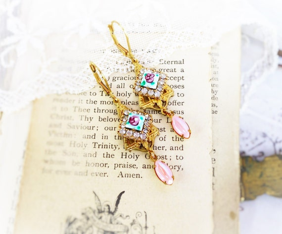 Vintage Rose, Aqua French Guilloche Enamel Rose and Rhinestones & Pearly Pink Art Deco Altered Assemblage Earrings by Hollywood Hillbilly