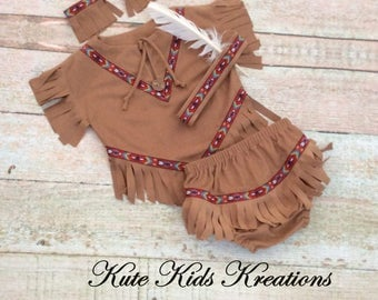 Baby Native American Inspired Indian Costume, Size 12/18M, Ready to Ship