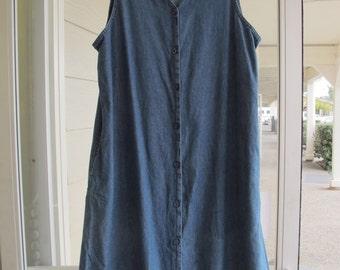 Denim Dress Plus Size Sleeveless Button Front Long Blue Denim Shift Size 1X Extra Large Loose Fit Denim Maxi Dress