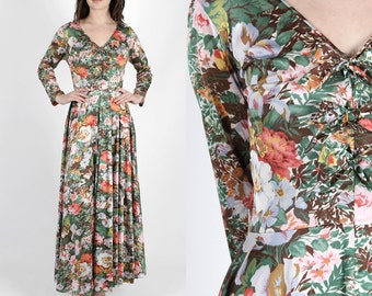 Vanity Fair Dress Vanity Fair Nightgown 70s Dress Vintage 70s Nightgown Vanity Fair Robe Boho Floral Bow Tie Peignoir Maxi Dress