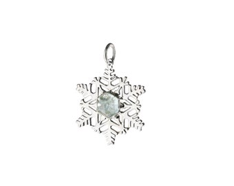 Aquamarine Snowflake Sterling Silver Charm Pendant