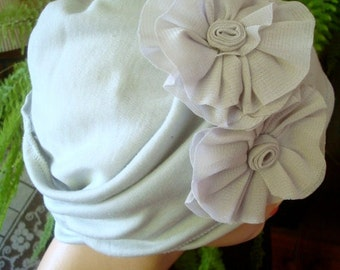womens hat chemo hat pale grey soft hat two piece  cotton hat